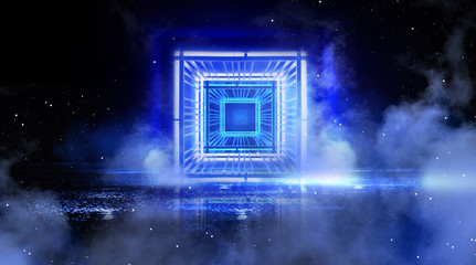 Neon square, light cube, in empty dark space with neon light, smoke, smog, searchlight rays. Blue abstract background with metal construction illuminated by a LED lamp. 3D Rendering