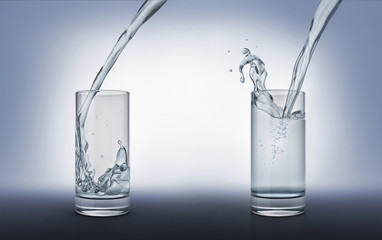 Two glasses with pouring water, one full with splash and one less full.