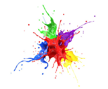 Red, blue, violet, yellow and green paint splash explosion.