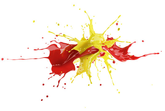 Red and yellow paint splash explosion, splashing against each other.