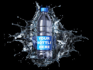 Splash of clear water with pet water bottle in the middle.