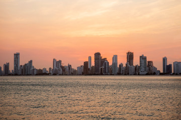 Cartagena, Colombia, Night city. Colombia's most charming city is beautiful at sunset.