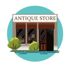 Antique store. Antique shop. Retro store. Store facade. Facade of an antique shop. Illustration of an antique shop in a flat style. Vector illustration Eps10 file