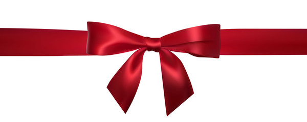 Realistic red bow with horizontal red ribbons isolated on white. Element for decoration gifts, greetings, holidays. Vector illustration