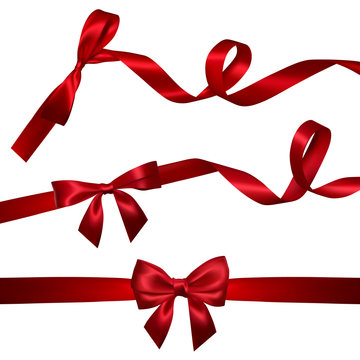 Set of Realistic red bow with long curled red ribbon. Element for decoration gifts, greetings, holidays, Valentines Day design. Vector illustration