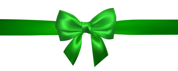 Realistic green bow with horizontal green ribbons isolated on white. Element for decoration gifts, greetings, holidays. Vector illustration