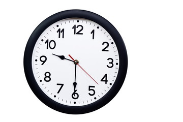 Time concept with black clock at half past nine am or pm