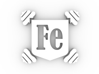 Iron text and dumbbell icon. Image relative for gym and bodybuilding. Remastered iron chemical element tag. Chemistry in metaphor design. 3D rendering