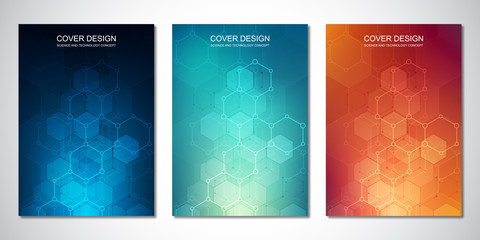 Vector template for cover or brochure, with hexagons pattern and technological background. Abstract geometric texture and hi-tech digital background.