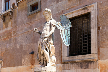 The statue of the St. Michael sculpted by Raffaello Da Montelupo, Rome, Italy
