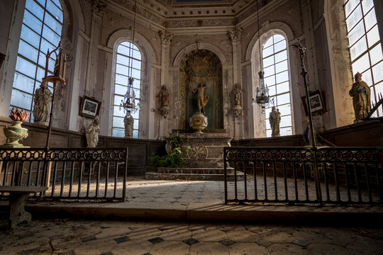 abandoned church in France with equipment