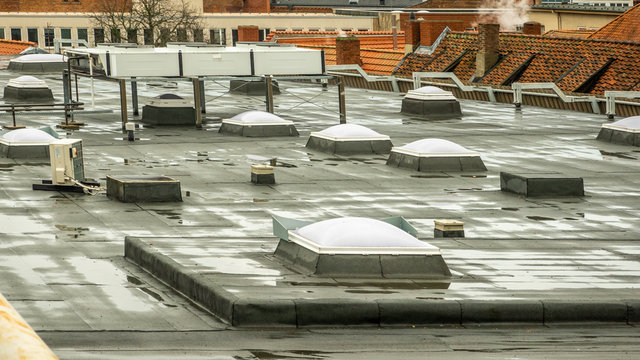 Skylights on the roof of a department store in the city centre