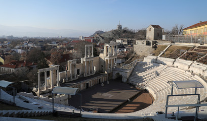 View shows the Roman amphitheatre in the Old Town of the city of Plovdiv