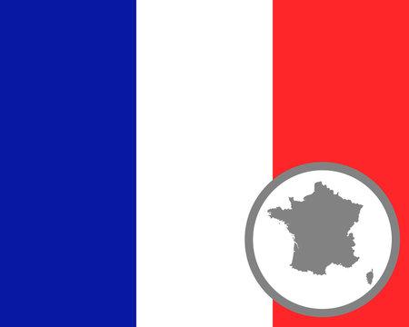 Französische Fahne und Landkarte