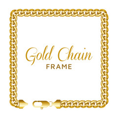 Gold chain square border frame. Rectangle wreath shape.
