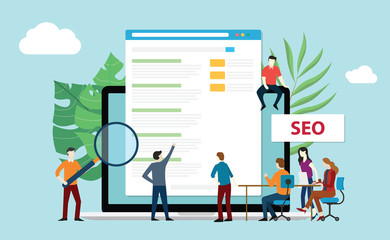 seo search engine optimization with office team people working together increase website rating - vector