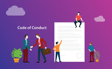 code of conduct business deal with people discuss together on paper document ethics - vector
