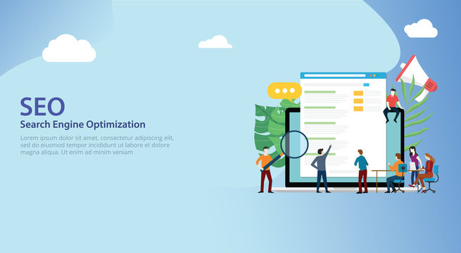 seo search engine optimization team working together on website design landing page ui - vector
