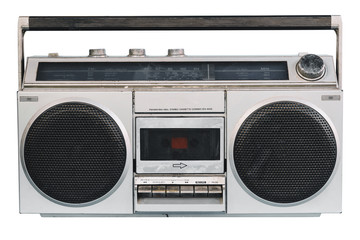 vintage stereo on isolated white with clipping path.