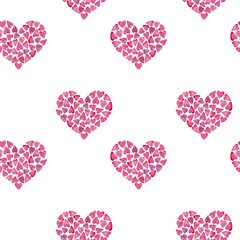 Watercolor Seamless pattern of hearts.