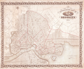 Map of Brooklyn, New York, 1863 McCloskey