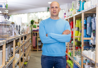 man standing in home decor store