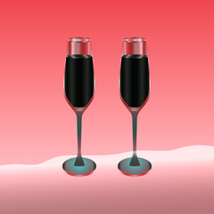 Two wine glasses filled with red drink on red