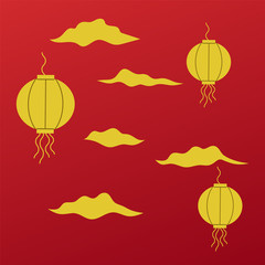 Traditional chinese and japanese decorative elements. Asian china and japan gold traditional element.