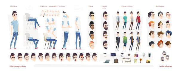 Young man character for your print, web and motion design. Creation kit. Set of flat male cartoon character body parts.