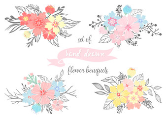 Set of hand drawn flower bouquets with different floral elements,branches,plants and leaves.Vector floral collection perfect for prints, flyers,banners,wedding invitations,special offer and more.