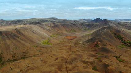 Desolate mountain landscape Reykjanes peninsula, Iceland. Aerial view shot by dji drone camera