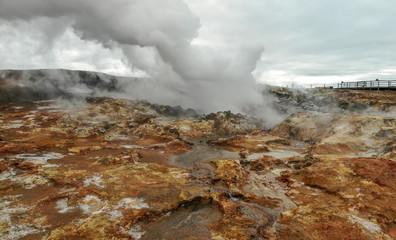 Steaming Gunnuhver hot springs at Reykjanes peninsula, Iceland. Aerial view shot by dji drone camera.
