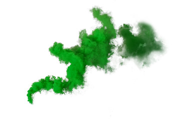 Green smoke bomb isolated on white background
