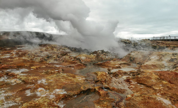 Steaming Gunnuhver hot springs at Reykjanes peninsula, Iceland. Aerial view shot by dji drone camera.