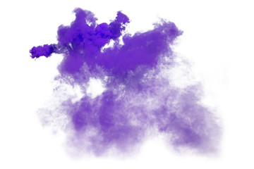 Purple and violet smoke isolated on white background