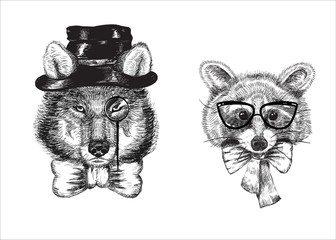 Cartoon raccoon and wolf dressed in bow tie