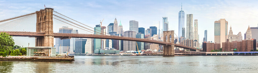 Foto auf AluDibond Brooklyn Bridge Amazing panorama view of New York city and Brooklyn bridge