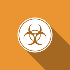 Biohazard symbol icon isolated with long shadow. Flat design. Vector Illustration