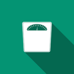 Bathroom scales icon isolated with long shadow. Weight measure Equipment. Weight Scale fitness sport concept. Flat design. Vector Illustration