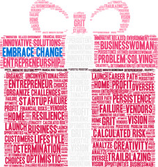 Embrace Change in Business Word Cloud on a white background.