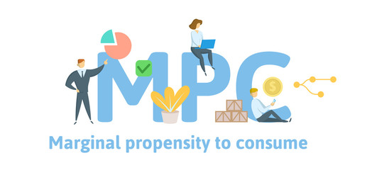 MPC, Marginal Propensity to Consume. Concept with keywords, letters and icons. Colored flat vector illustration. Isolated on white background.