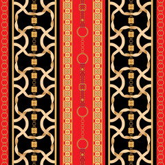 Baroque seamless pattern with golden ribbons and chains. Striped patch for scarfs, print, fabric.
