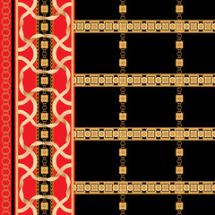 Baroque border seamless pattern with golden ribbons and chains. Striped patch for scarfs, print, fabric.