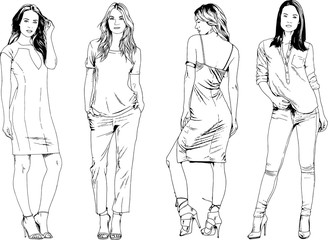 vector drawings on the theme of beautiful slim sporty girl in casual clothes in various poses painted ink hand sketch with no background Wall mural