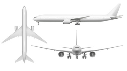 Realistic airplane. Aircraft plane view landing on runway or flying. White 3d airplane isolated illustration Fotobehang