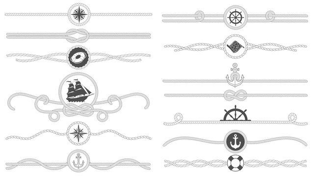 Nautical rope border. Nautical tied ropes line, sea ship anchor divider and retro marine decor borders isolated vector set
