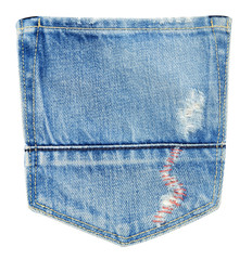 Torn jeans back pocket