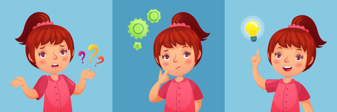 Worried little girl. Child ask question, confused and found questions answers. Thoughtful little girl cartoon vector illustration