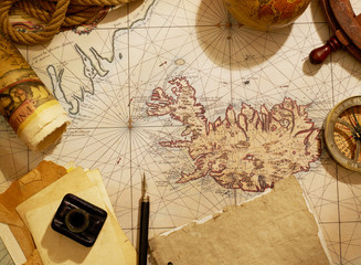 Vintage map and journey equipment