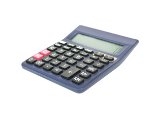 Close up black calculator isolated on white background with clipping path